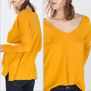 ZARA TRAFALUC | V-neck long sleeve slub tee